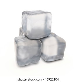 Four ice cubes for a cocktail