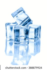 four ice cubes  isolated on white background.