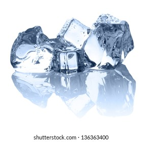 Four ice cubes on the white background with nice reflection