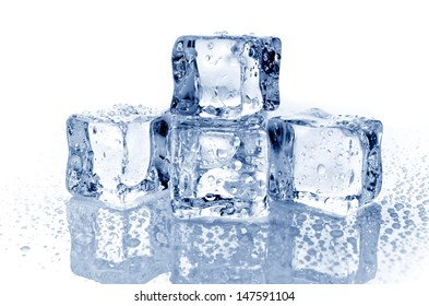 Four ice cubes on white background