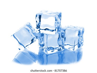 Four ice cubes with reflection isolated on white background