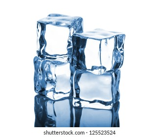Four ice cubes with reflection on white background