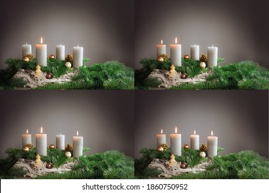 Four images 1st to 4th advent with festive arrangements of burning candles, fir tree branches and Christmas decoration, copy space, selected focus, narrow depth of field