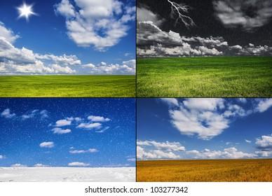four images - storm, summer, autumn, winter