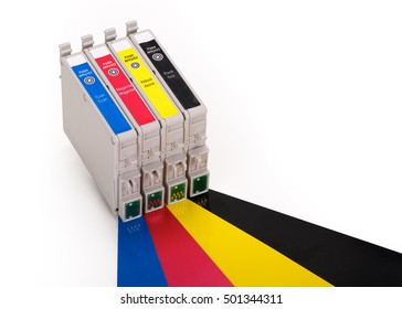 Four ink cartridges in cyan, magenta, yellow and black