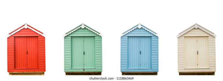 Four Isolated, Colorful Vintage Retro British Beach Huts