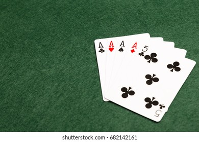 Four of a kind, the third highest value hand in poker. Four cards of the same value