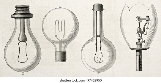 Four kinds of lamp in the Electricity Exposition of 1882 (Paris): Edison, Maxim, Swan, Werdermann. By unidentified author, published on Magasin Pittoresque, Paris, 1882