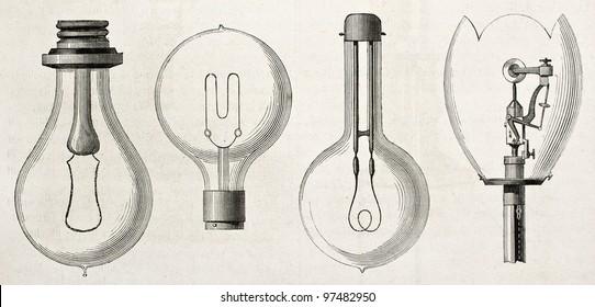 Vier Arten von Lampen in der Stromausstellung von 1882 (Paris): Edison, Maxim, Swan, Werdermann. Von nicht identifiziertem Autor, veröffentlicht auf Magasin Pittoresque, Paris, 1882