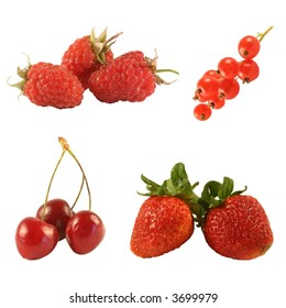 Four kinds of red berries isolated on white.