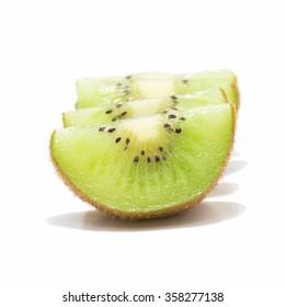 Four kiwi fruit isolated on white background