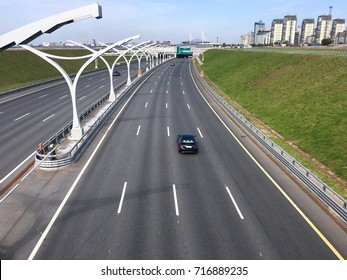 Four lanes urban highway of the Western High Speed Diameter (WHSD) in dwelling district. The Saint-Petersburg, Russia