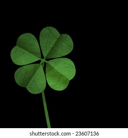 Four leaf clover on Black background, ideal for St Patrick's day