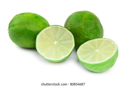 four lime fruit on white background, small natural shadow in front