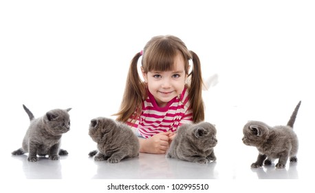 four little british kittens cat and happy girl. isolated on white background