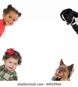 Four little funny: two babies girls and two puppies isolated on a over white background