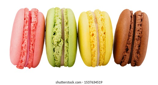 four macaroon cookies isolated on white background clipping path