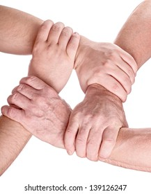 four man hands holding each other isolated on white background