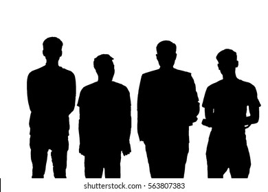 Four Man silhouette isolated on white background