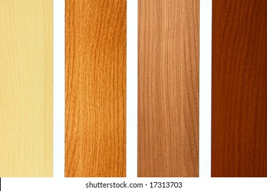 Four maple wood samples in brown palette