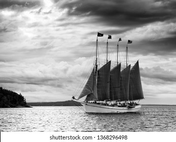 Four Mast Sailing Boat in Black and White
