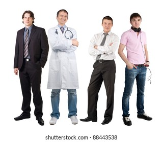 Four men of different professions, businessman, doctor and dj. Isolated on white background