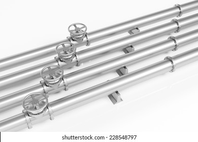 Four metall pipelines with valves for gas and oil (3D Rendering)
