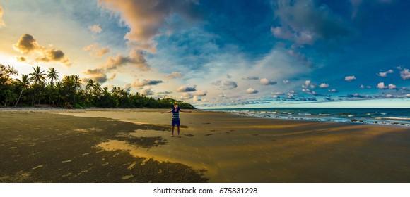 Four mile beach Port Douglas Australia Sunset Loneliness