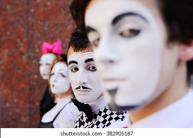 four mime look forward. profile mime