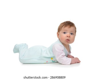 Four month Infant child baby girl in body lying happy smiling isolated on a white background