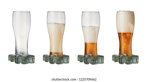 four mugs of beer on a white background