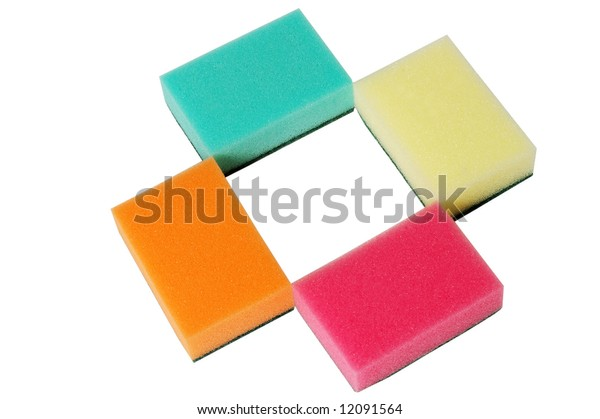 four multicolor sponges. isolated on white