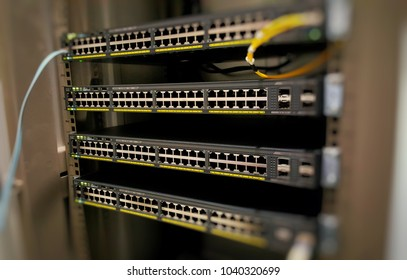 Four Network Switch are mount in rack before config to operation