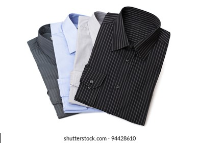 Four new folded and pressed men's dress shirts