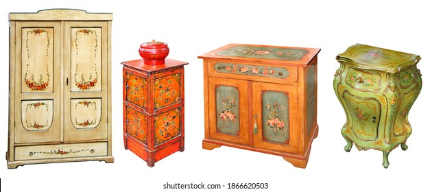 Four Old painted wooden cabinets, isolated on white background