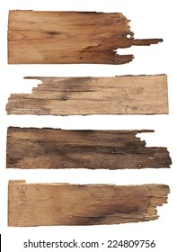 Four old wooden boards isolated on a white background. Old Wood plank, isolated on white background (Save Paths For design work)