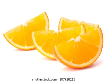 Four orange fruit segments or cantles isolated on white background cutout