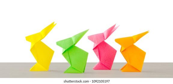 Four origami on white background