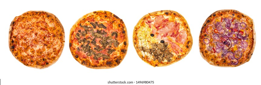 Four Original Italian different pizza set for menu or banner. Margherita, Mushrooms, Four Season, Peperoni and Onions. White background. Concept Pizza delivery service to home