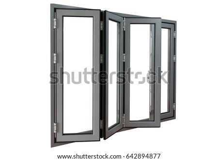 White Aluminium Panel : Four panels commercial aluminium frame bifold stock photo edit