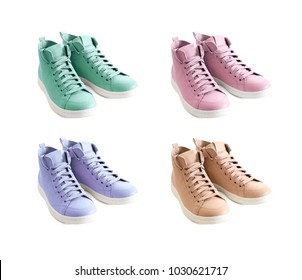 Four pastel colors (mint green, lavender, beige, pink) of women shoes isolated on white background. Fashion footwear, spring summer collection
