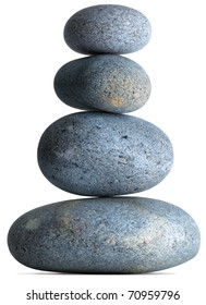 four pebbles balancing on a white background with clipping path