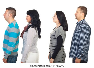 Four people standing in profile and looking away isolated on white background