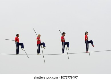 four people tightrope walk stunt, seoul, korea - 10 may 2016