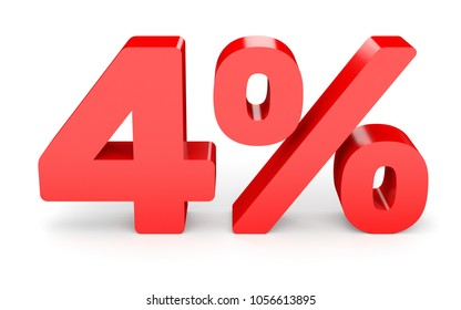Four percent off. Discount 4 %. 3D illustration on white background.