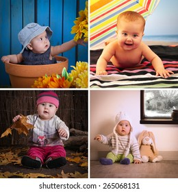 Four photos of a baby dressed for several seasons