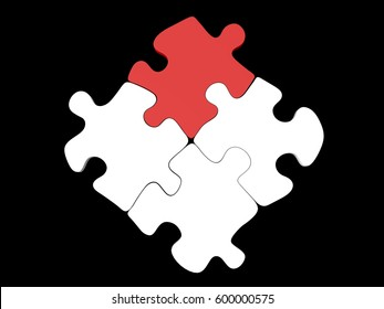 Four piece jigsaw puzzle set with one red piece