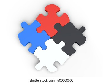 Four piece puzzle set in red, blue, black and white colors - 3D Illustration
