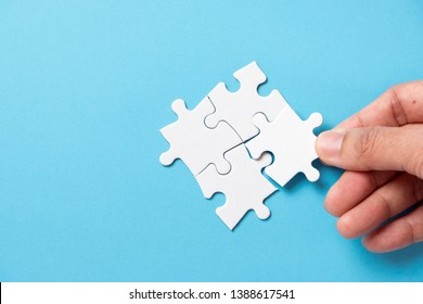 Four pieces puzzle squares diagram for business presentation infographic or marketing strategy.