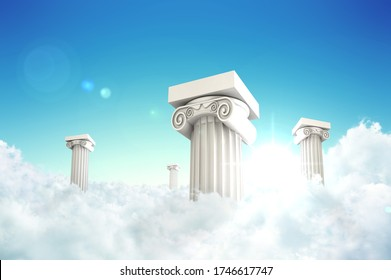 FOUR PILLARS IN CLOUDS WITH SUNSHINE